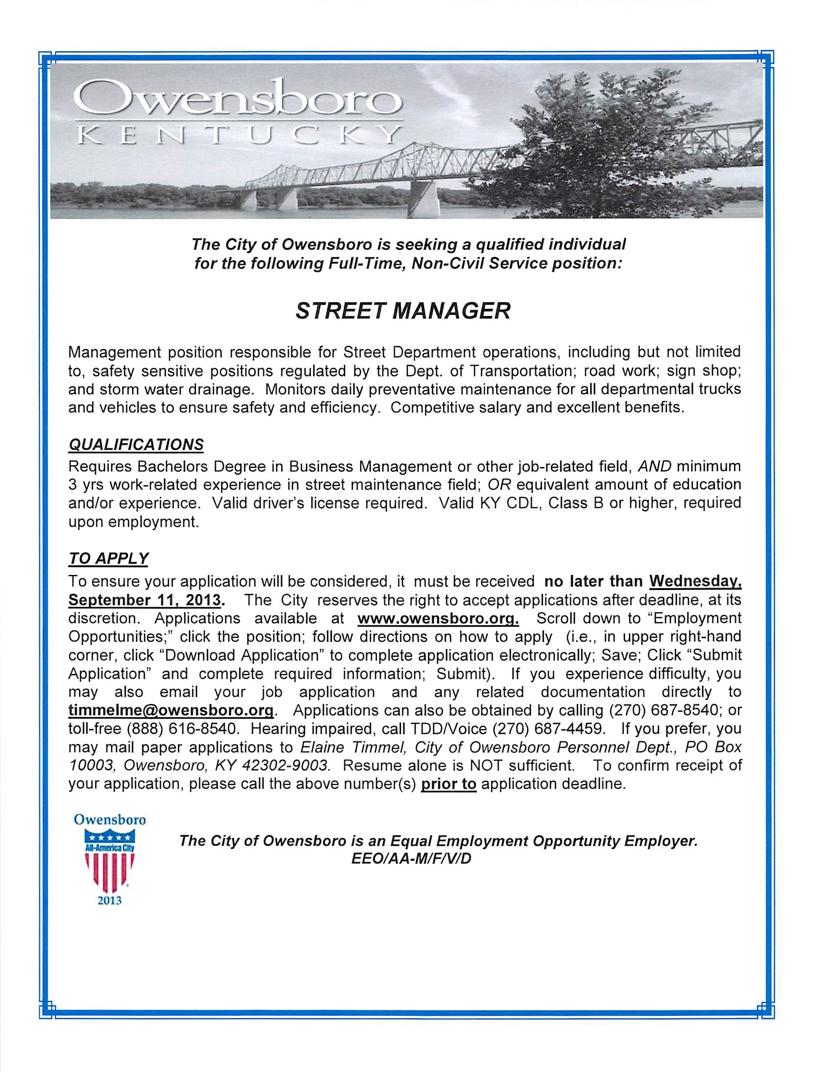 street manager  city of owensboro  owensboro ky