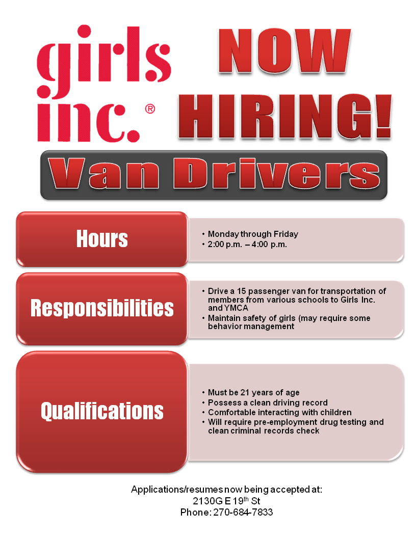 Now Hiring Van Drivers Girls Incorporated Owensboro Ky