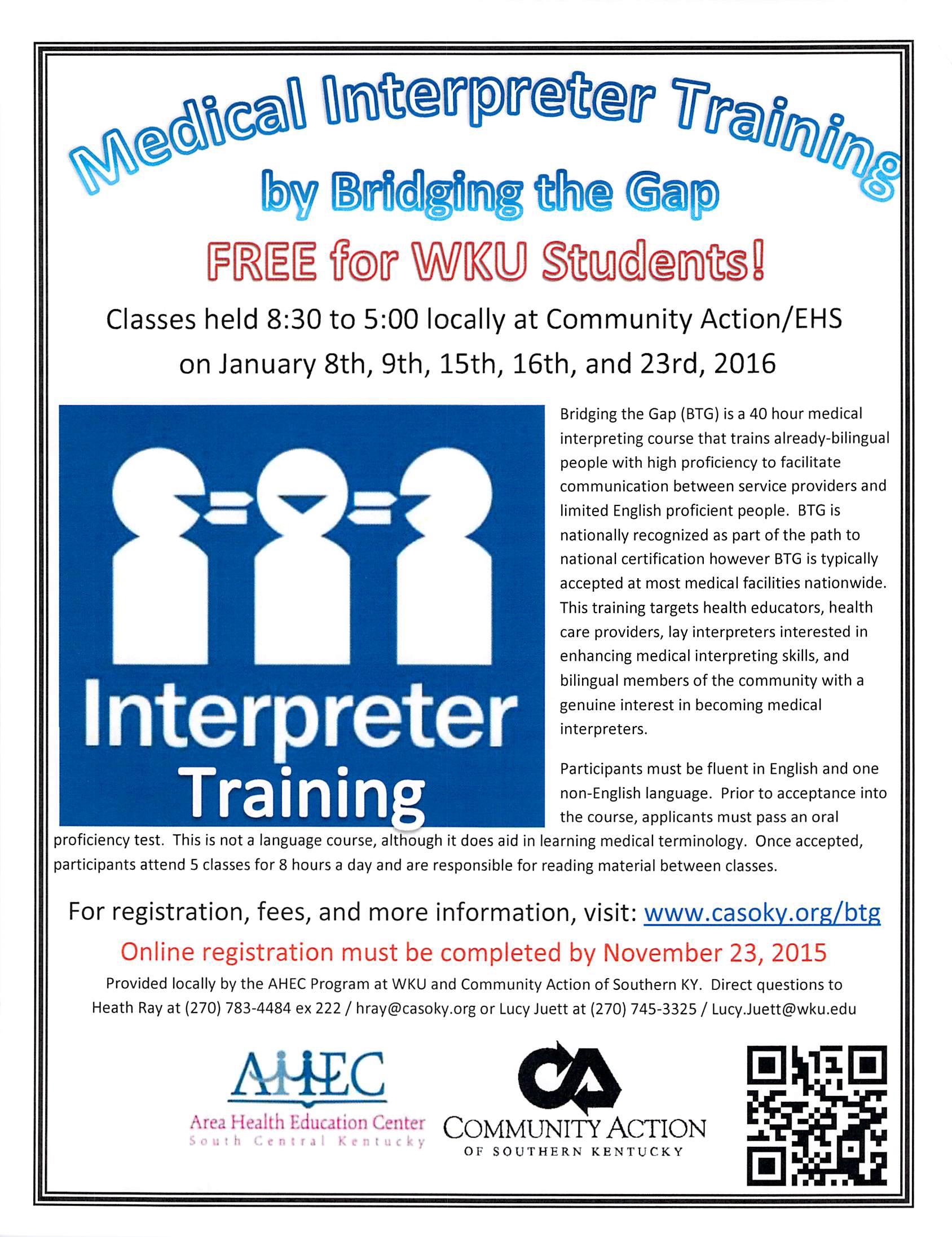Medical Interpreter Training Free For Wku Students Wku Owensboro