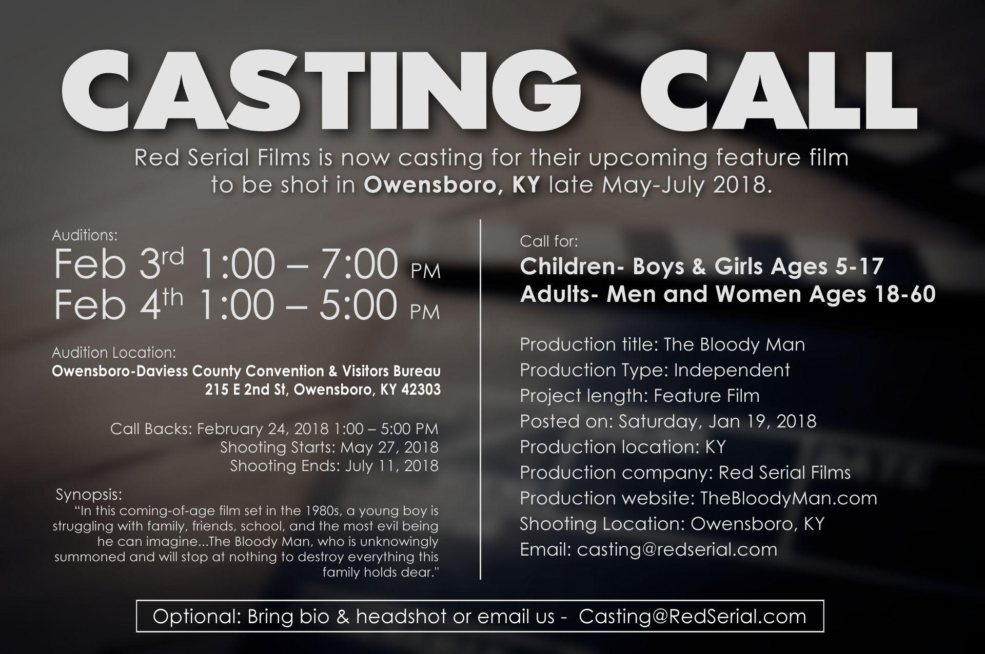 casting call  red serial films  owensboro  ky